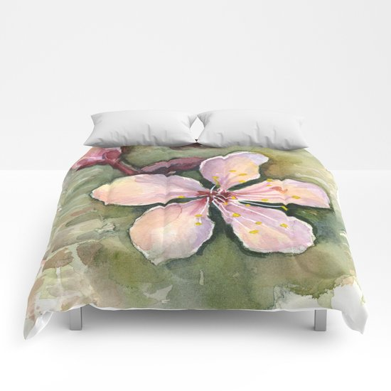 Cherry Blossom Watercolor Painting | Spring Flowers Comforters