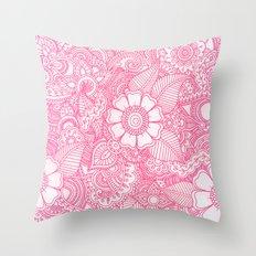 Henna Design - Pink Throw Pillow