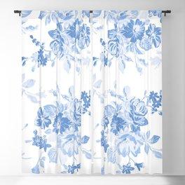Modern navy blue white watercolor elegant floral Blackout Curtain