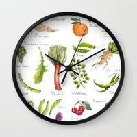 calendar Wall Clocks featuring Calendar-January thru June by Brooke Weeber