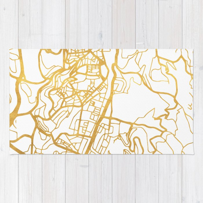 JERUSALEM ISRAEL PALESTINE CITY STREET MAP ART Rug by deificusart ...