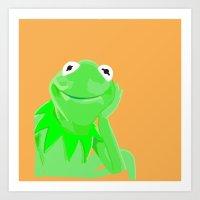 kermit Art Prints featuring Kermit by Roythehuman