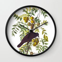 American Crow Vintage Bird Illustration Wall Clock