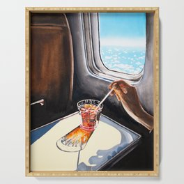 Glass in Airplane | Retro Mid Century | Mad Men Painting Serving Tray