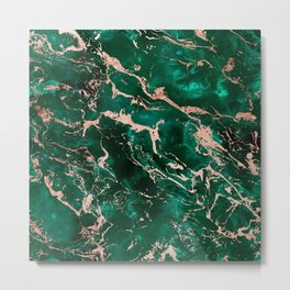 Modern rose gold marble green emerald watercolor pattern Metal Print