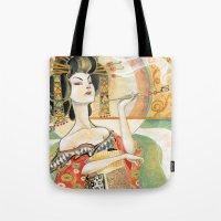 gustav klimt Tote Bags featuring Klimt Oiran by Sara Richard