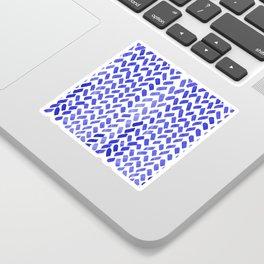 Cute watercolor knitting pattern - blue Sticker