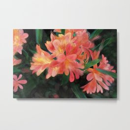Orange flowers on black Metal Print