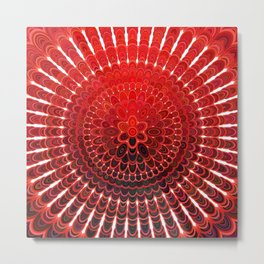 Red Flower Mandala Metal Print