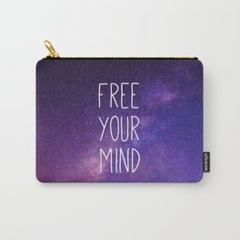 Free Your Mind, Quote, Blue Purple Night Sky, Universe Carry-All Pouch