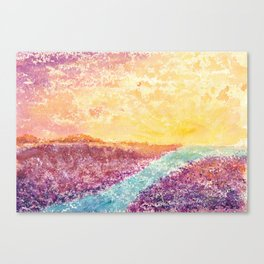 Magical Sunset Watercolor Illustration Canvas Print