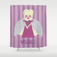 virgo Shower Curtains featuring Virgo by Esther Ilustra