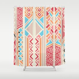 Tribal ethnic geometric pattern 033 Shower Curtain