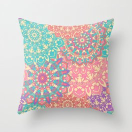Pretty pink and cyan Mandala pattern Throw Pillow