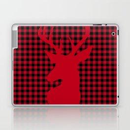 Red Plaid Deer Stag Design Laptop & iPad Skin