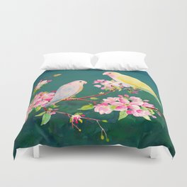 Watercolor Apple Blossoms and Love Birds Duvet Cover