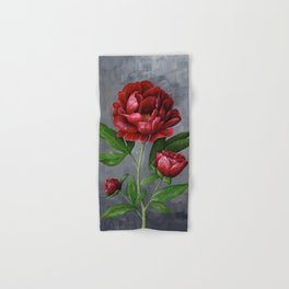 Red Peony Flower Painting Hand & Bath Towel