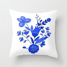 Blue &White Floral Throw Pillow