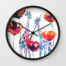Giraffes and Poppies Wall Clock