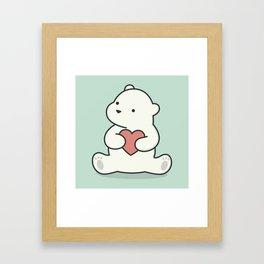 Kawaii Cute Polar Bear With Heart Framed Art Print