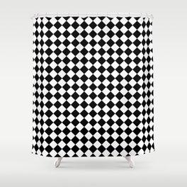 VERY SMALL BLACK AND WHITE HARLEQUIN DIAMOND PATTERN Shower Curtain