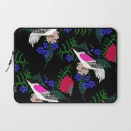 Sgraffito Birds - Bright Fuchsia Botanical Birds and Flowers Laptop Sleeve