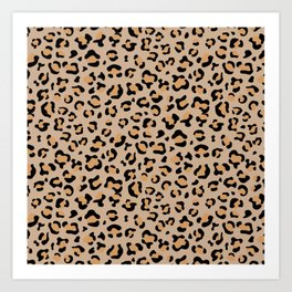 Animal Print, Spotted Leopard - Brown Black Art Print