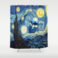 fandom Shower Curtains featuring Soaring Tardis doctor who starry night iPhone 4 4s 5 5c 6, pillow case, mugs and tshirt by Greenlight8