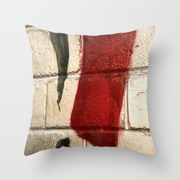 shiny silver spray paint background, red and black line, urban art Throw Pillow