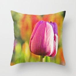 Tulip Collage Throw Pillow