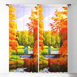 Tardis Art Bridge Forest Autumn Blackout Curtain