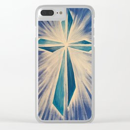 Radiant Blue Cross Clear iPhone Case