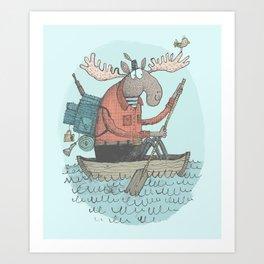 'Moose Canoe' (Color) Art Print