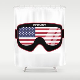 American Goggles - Distressed Black | Goggle Designs | DopeyArt Shower Curtain