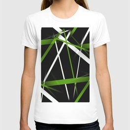 Seamless Grass Green and White Stripes on A Black Background T-shirt