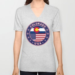 Colorado, Colorado t-shirt, Colorado sticker, circle, Colorado flag, white bg Unisex V-Neck