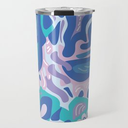 Modern Paisley Blue and Pink Travel Mug