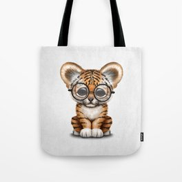 Cute Baby Tiger Cub Wearing Eye Glasses on White Tote Bag
