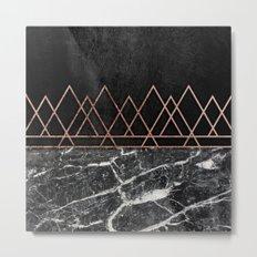 Elegant Rose Gold Triangles & Black & White Marble Metal Print
