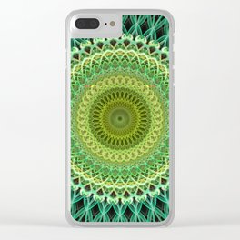 Light and dark green mandala Clear iPhone Case
