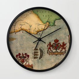 Map Of The English Channel 1588 Wall Clock