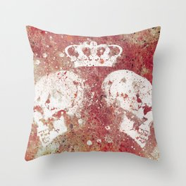 Blood Queendom (spray paint graffiti art, crown with skulls) Throw Pillow