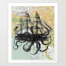 Octopus Attacks Ship on map background Art Print