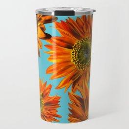 Orange Sunflower Pattern Travel Mug