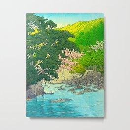 Vintage Japanese Woodblock Print Beautiful Water Creek Grey Rocks Green Trees Metal Print