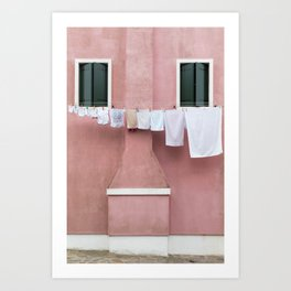 The Pink House with the Hanging Wash Art Print