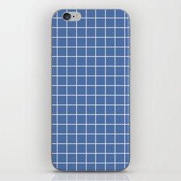 Blue yonder - blue color - White Lines Grid Pattern iPhone Skin