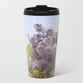 Lavender Wisteria with Apple Green Leaves and Powder Blue Sky Travel Mug