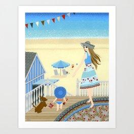 Family vacation at the beach Art Print