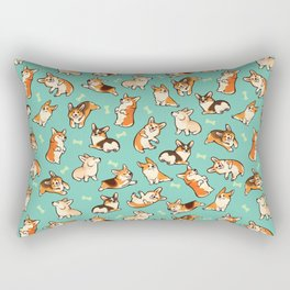 Jolly corgis in green Rectangular Pillow